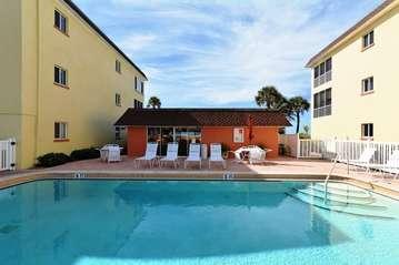 Large, solar-heated pool