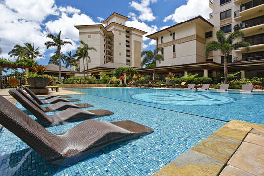 The Heated Lap Pool with Custom Lounge Chairs