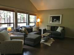 Living with plenty of light, windows, gas fireplace and flat screen TV