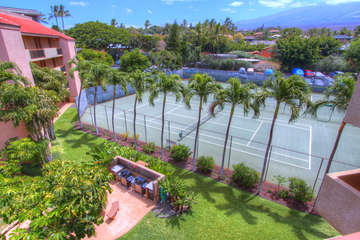 Tennis courts and BBQ area on property