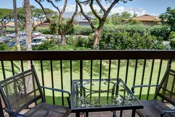 Relaxing lanai with garden views