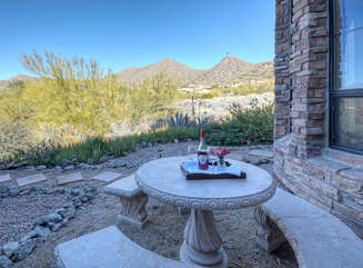 Cheers to the mountain and desert views from outside patio