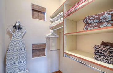 Walk in closet has ample storage space for your wardrobe and accessories