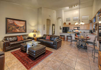 Open floor plan with custom features is spacious and stylish