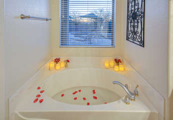 Imagine tranquil moments in soothing garden tub