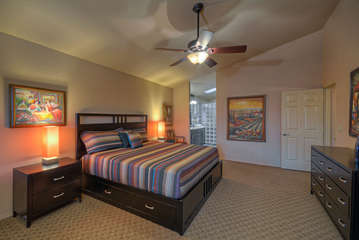 Large walk-in closet and beautiful decor in master bedroom