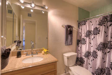 Second bathroom has tub/shower combo