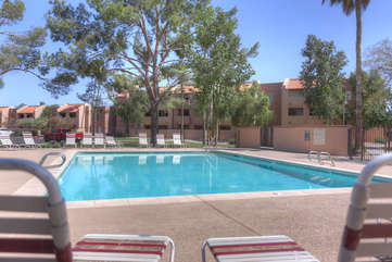 Community pool is not heated but perfect for a relaxing splash