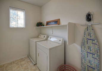 Laundry room on first floor is completely stocked