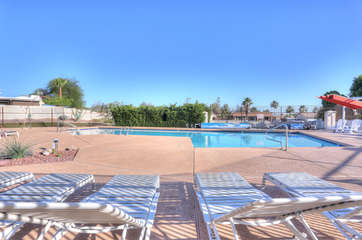 Community pool and spa are heated and a very short walk from townhome