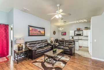 Open floor plan includes spacious and comfortable great room with pretty laminate floors