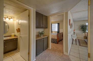 Split floor plan allows space between bedrooms to enhance privacy
