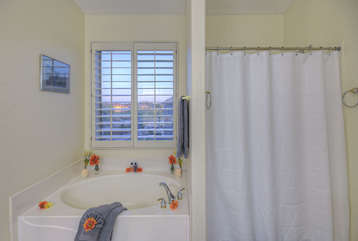 Master bath has inviting garden tub, separate shower and large walk-in closet for all of your personal items