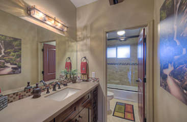 Third bathroom has enclosed tub/shower combination and commode to maximize privacy options