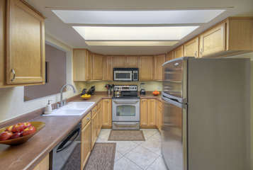 Completely stocked kitchen makes food and beverage preps efficient