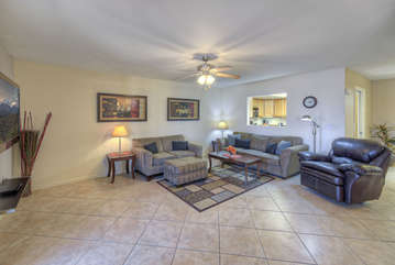 Plan exciting days and nights or watch large TV in cozy, well appointed great room