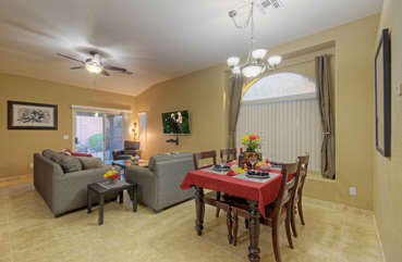 Home is well appointed and features beautiful new tile floors with travertine baseboard