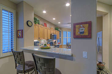Kitchen bar seats 2 for coffee, margaritas, your favorite brew or snacks