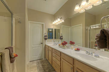 Master bath has walk-in shower, dual vanity sinks and lots of space for your personal belongings