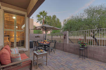 Enjoy peaceful golf course view on newly remodeled back patio