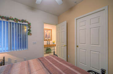Second bedroom is adjacent to entrance foyer and has private door to second bath