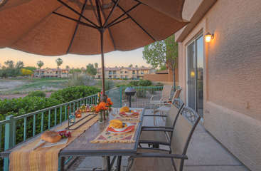 Compelling scenery and warm weather are the perfect combination for dining outdoors on new patio furniture