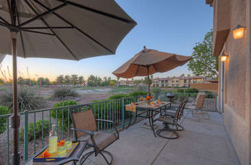 Savor lush golf course views while grilling outdoors or chillaxin on new patio furniture