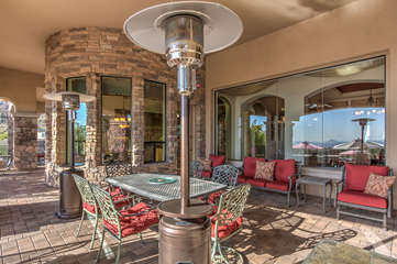 For the occasional cool winter night there are propane heaters on the back patio to warm you