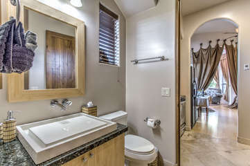 Well appointed casita includes a designer sink in bathroom