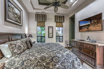 Accommodations include a deluxe king bed and large television