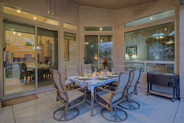 Outdoor dining at its best with comfortable seating for 6