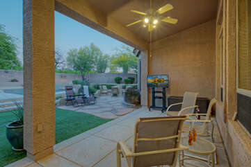 Patio at back of home offers a peaceful setting for experiencing Arizona's 300+ days of sunshine