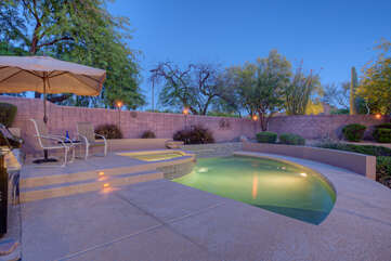 Spa and private pool with optional heating fee have hand rails for safely entering and exiting