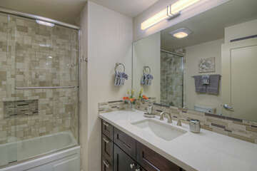 Second and third bedrooms share second bath with a tub/shower combination