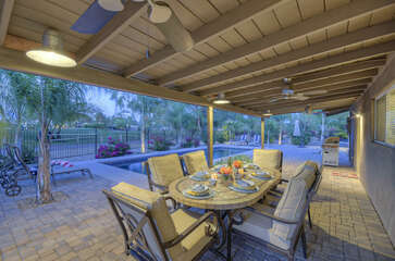 Cheers to a beautiful and private setting with golf course views, comfortable seating and gas grill