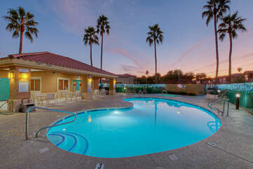 Walk to heated community pool and spa for refreshing dip