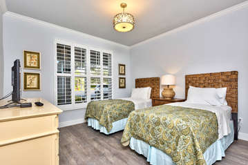 Twin Bedroom with Flat Screen TV; New Beds, Flooring, and Decor; Perfect for Singles or Kids; Entrance to 2nd Bathroom from this Bedroom!