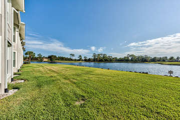 View from Private Screened in Lanai with Dining and Seating; Lake and Golf Views! 2 Championship Golf Course in the Back Yard!