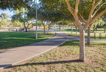Lovely walking trails connect the small parks scattered throughout the community