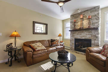 View of Living Room, Gas Fireplace, and Queen Sleeper Sofa