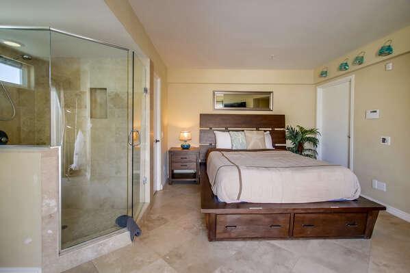 Queen Bedroom with glass walk in shower