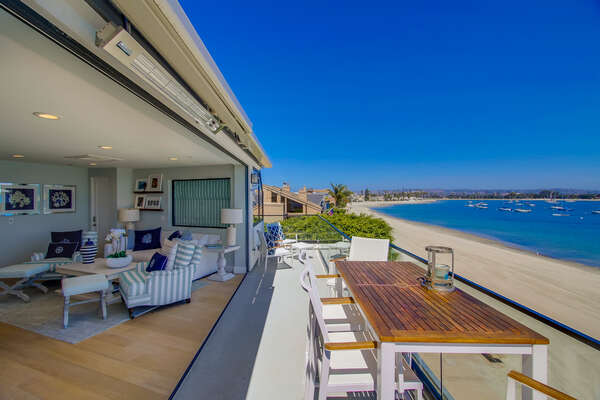 Penthouse patio overlooks Mission Bay