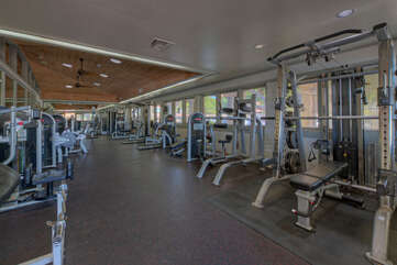 Community center work out room with scheduled fitness activities is open to guests