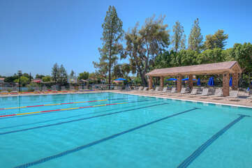 The community pool is heated to 84 degrees for year round dips