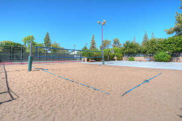 Get your game on at the community sand volleyball court