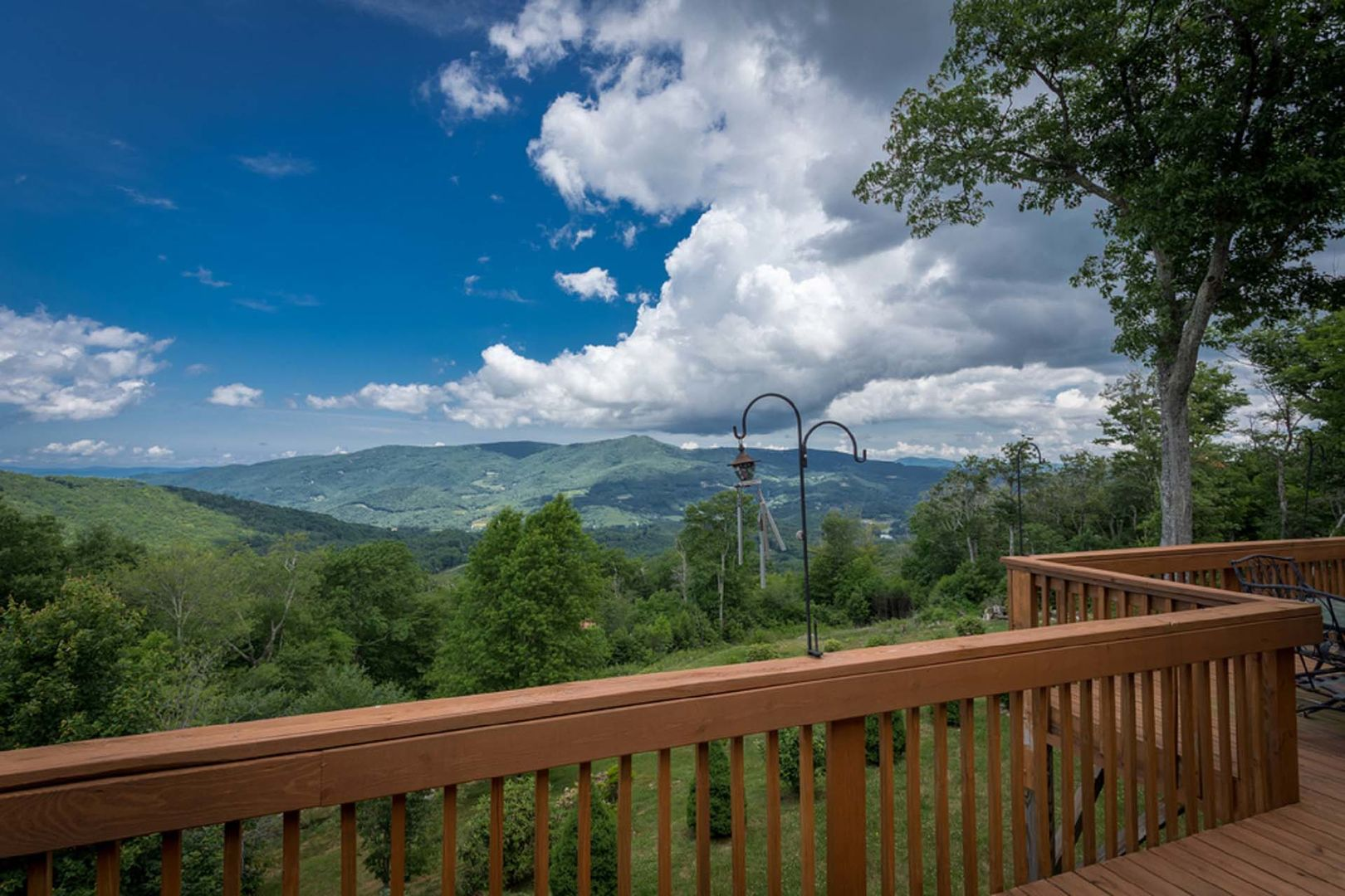 Views of the mountains from the deck