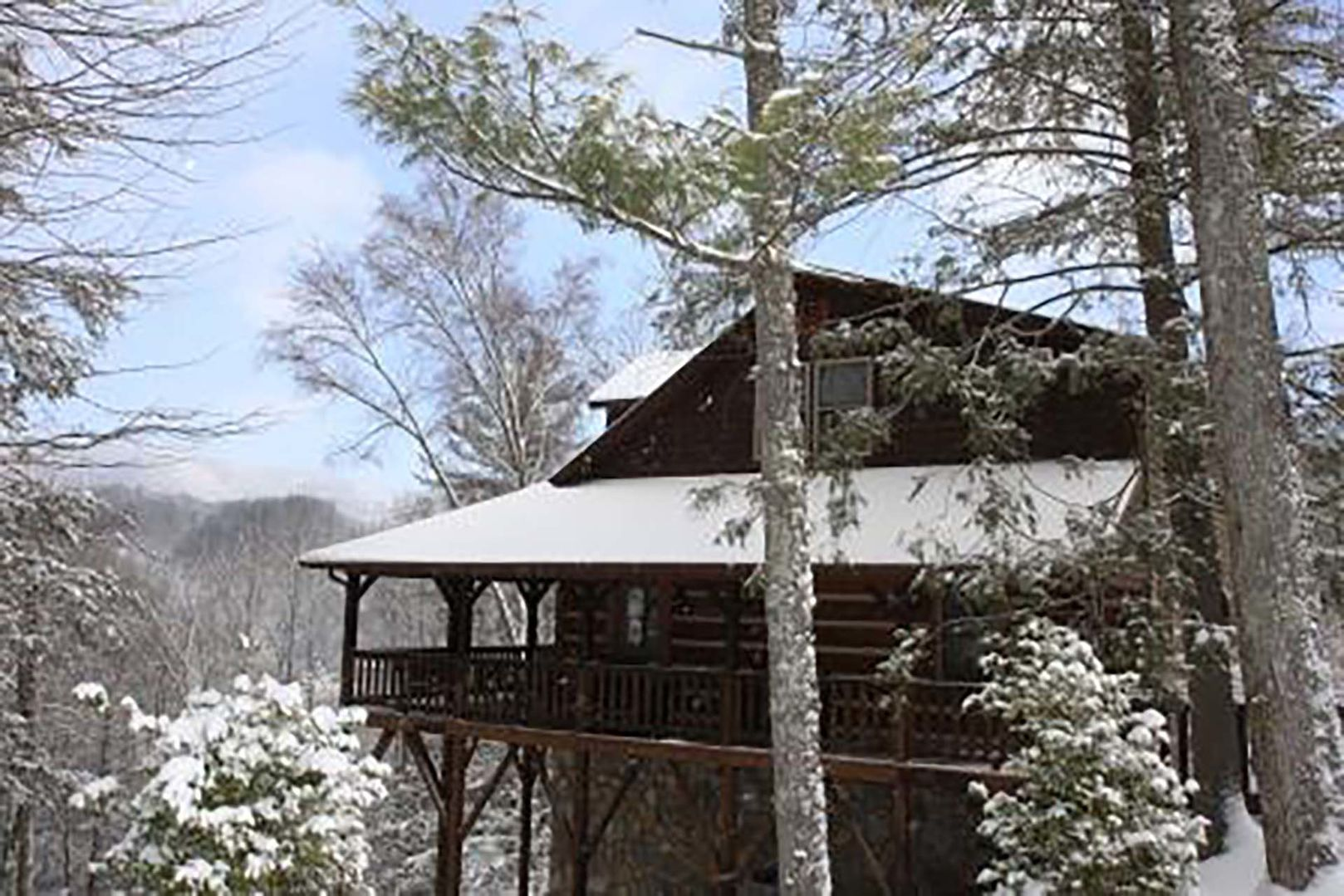 Side view of the home during the winter