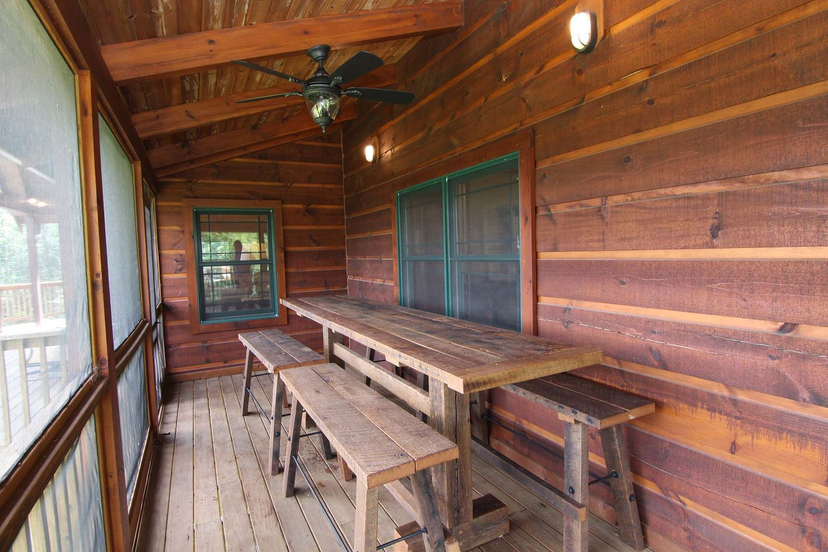 Covered deck with picnic tables
