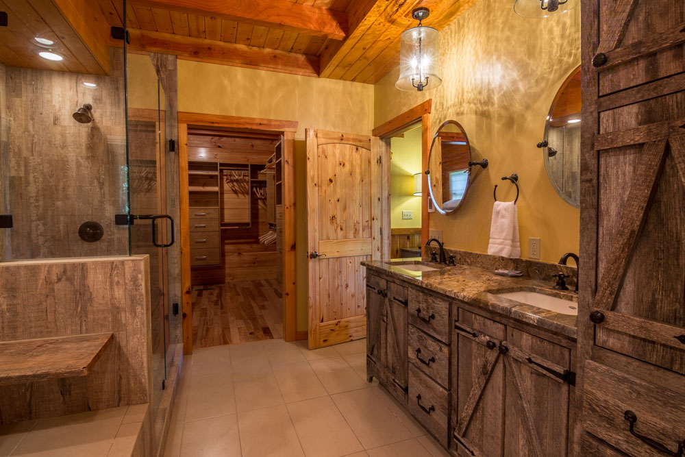 Full bathroom with tub and walk in shower