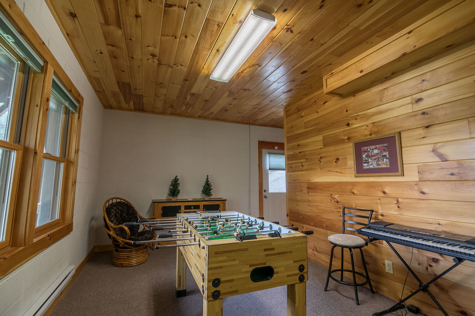 Lower level game area with Foosball table